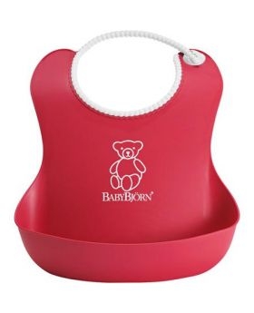 Bjorn Plastic Baby Bib - Red