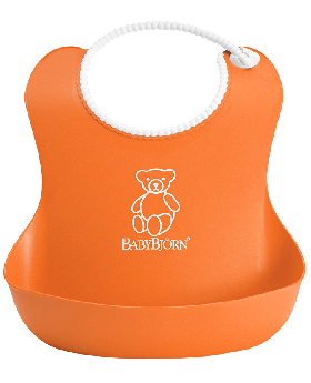 Bjorn Plastic Baby Bib - Orange