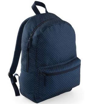 Bagbase Graphic Backpack-Navy Polka Dot