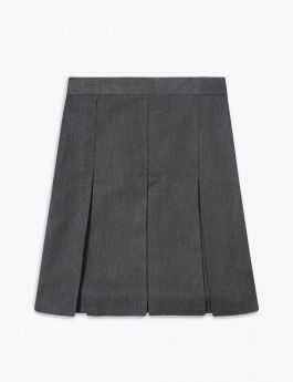 Grey  Stitched Down  Boxed Pleat  Skirt
